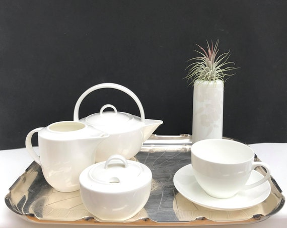 Teapot set for one Porcelain Maxwell Williams Cashmere white creamer lidded sugar bowl Silver plated tray Leonardo Vintage vase Minimalist