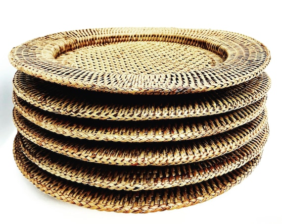 Vintage Rattan Chargers set 8 Rustic Decor Bamboo Wicker Serving Tray Vintage rustic round  Farmhouse Decor  boho plates bohemian table