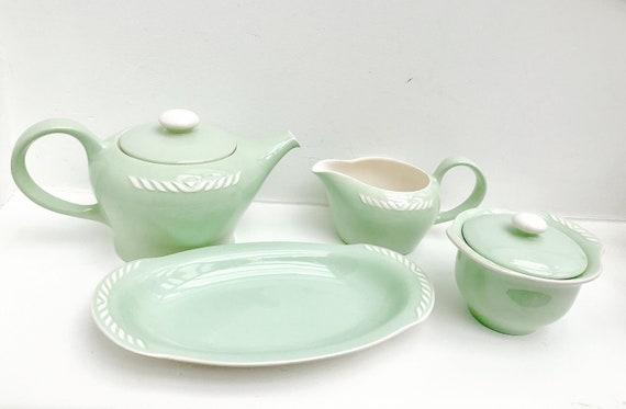 Tea set tea pot Vintage Figgjo Flint Norway Sissel Mint green Vintage creamer  1950s Ragnar Grimsrud Scandinavian