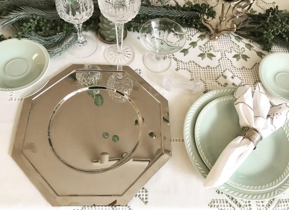 Chargers metal set 6 under plate placemats  Mid Century French metallic wedding sous plat octogonal Christmas formal dinner holyday table