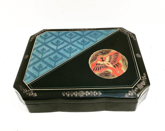 Large Lacquer Box, Painted with Bird Design, Large Box for Shawl, Lacquered Box, black, blue Lacque, Made in Japan 1960s