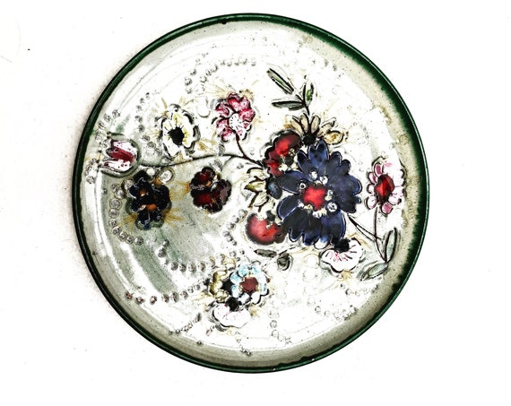 Vallauris Pottery piece unique decorative wall plate flowers handmade vintage collectible French majolica glazed ceramic Mid Century floral