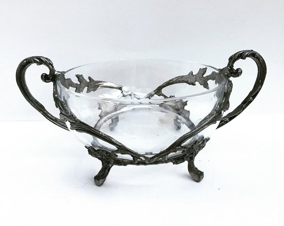 Serving Bowl Salad Vegetables Heavy glass and Pewter stand feet and handles Vintage French  Leaves decor Christmas table decor Plate gift