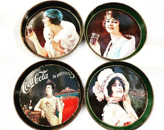 Coca Cola collection Coke tin tip tray round 70s set 4 reproduction French vintage bar man cave decor advertising gift collector bartender