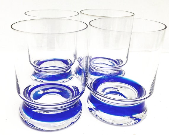 Whisky glasses Murano Crystal by Nason and Moretti 4 Vintage 70s cobalt blue handblow venetian glass art gift for him bar decor blue accents