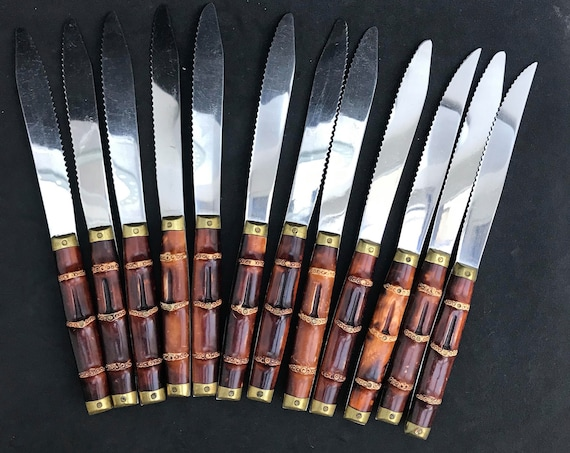 Faux Bamboo Handle Vintage knives Set 12  Meat dinner Knives   knife Bamboo Handle Stainless Flatware Germany  boho chic bamboo silverware