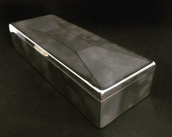 Large Box Jewelry Silver Plated Cigarette Cigar Boxes desk decor ornament silver plated box jewlery Vintage gift for him vanity decor