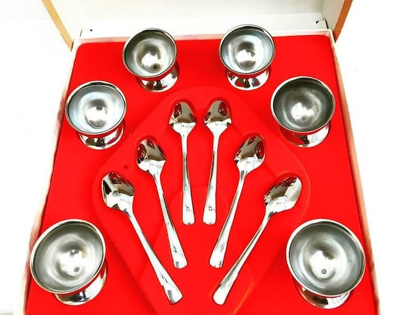 Egg cups stainless steel and spoons breakfast set  by Guy Degrenne  Vintage 70s