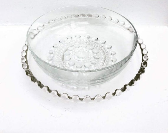 Plate, Vintage Glass Candlewick ,European Dish with Bubbly Decor,  lovely design for any table , Candlewick Clear , Fruit Bowl, S