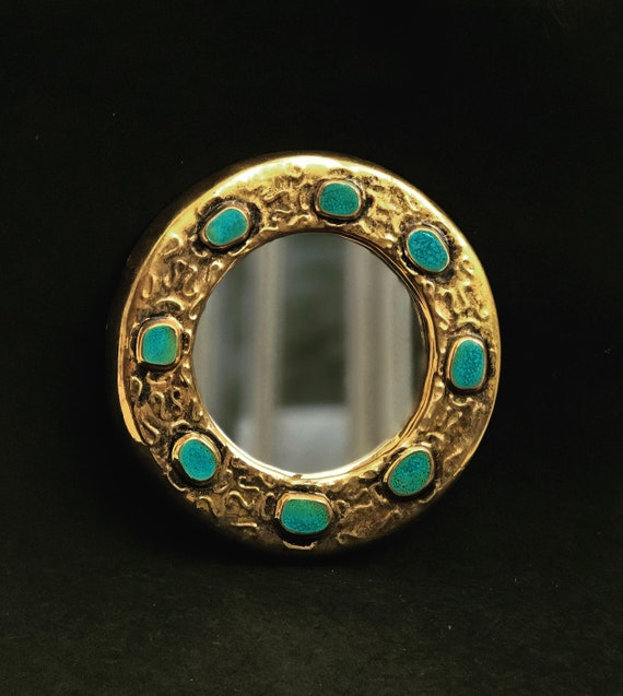 Jewel Mirror Francois Lembo Vintage Round turquoise cabochons Ceramic  French Vallauris glazed ceramic Jeweled signed Golden mirror