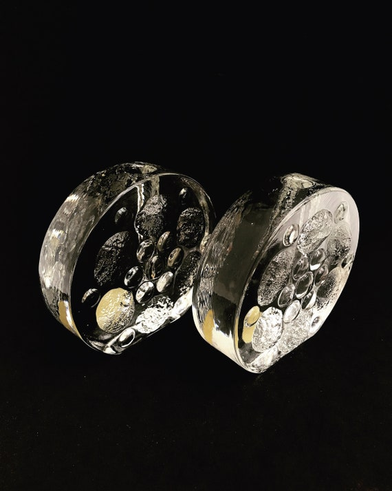 2 Vase round crystal German Solifleur vintage Walther heavy glass Heiner Dusterhaus Mid Century Modern cadeau candle holder  Brutaliste