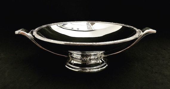 Pedestal Fruit Basket Art Deco Silver Plated Footed Centrepiece silverware art deco footed fruit plate Frank Cobb & Co wedding gift