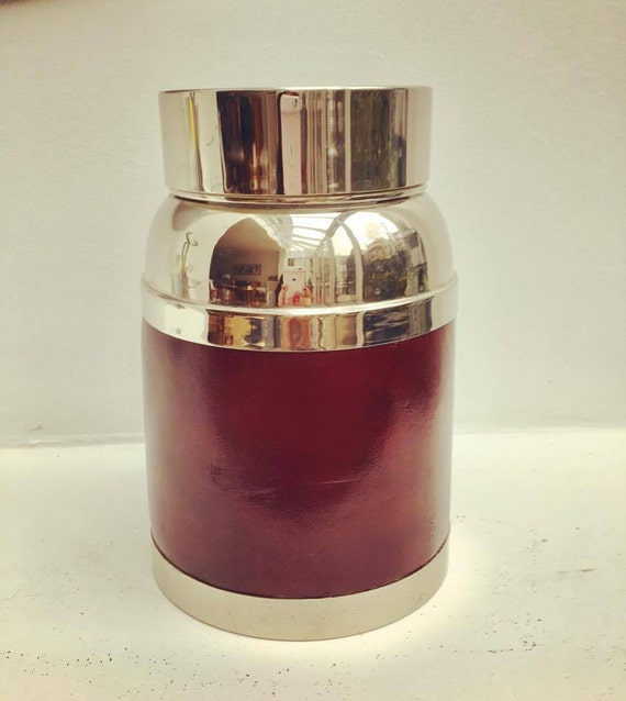 Thermos Vintage, Extra Large, Mid Century, Bar Accessories, bar tools, inox and Imitation leather. man gift, saint valentin gift, bar home