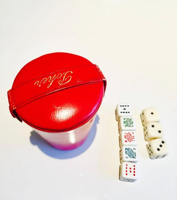 Poker Game Cup, goblet, leatherette has dice Vintage, with 8 dice. 1960's Red Cup
