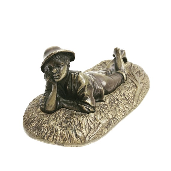 Bronze figurine Vintage French Boy lying down Mid Century Desk decor statue  accents It's a boy gift for child new father Patina Child