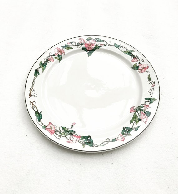 """Cake dish plate Villeroy and Boch Palermo pattern large 12"""" dinner plate charger romantic cake dish Pink Morning Glory Border Brown Trim"""