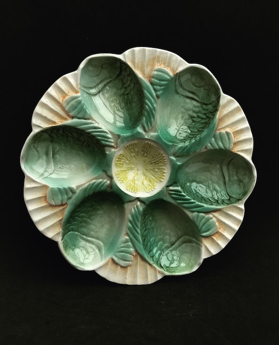 Oyster Plate Vintage Fish head Oyster dish majolica barbotine rare seafood plate dinner glazed French Rare gift mom French Vintage
