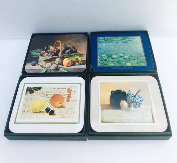 Coasters by Jason Set of six, 4 boxes with differents designs All boxed as new Cork coasters hardboard costers 1  by Isabelle de Borchgrave