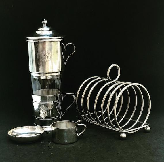 Coffee tea maker vintage french single Breakfast set cup filter coffee filter single cup coffee maker Toast holder creamervintage gift