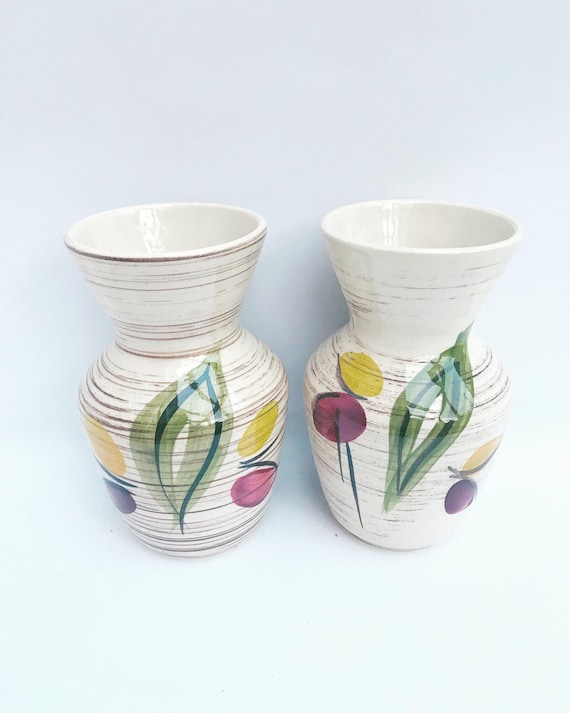 West Germany pottery vases by Bay Keramic Vintage Mid Century Pair of small vases German Pottery 50s Gift for Her Hostess gift marked 537-74