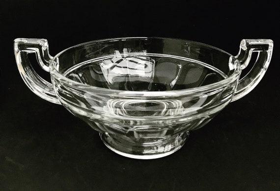 Val St Lambert Art Deco fruit Bowl  Centerpiece  Luxval Line Noémie Pattern clear  trophy style handles 1935 collectors Belgian glass