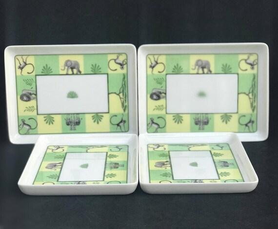 Hermes Africa Green Sushi Rectangular plates set of 4 Vert  Hermes Plate Dish Giraffe Signed Wedding gift Yellow table