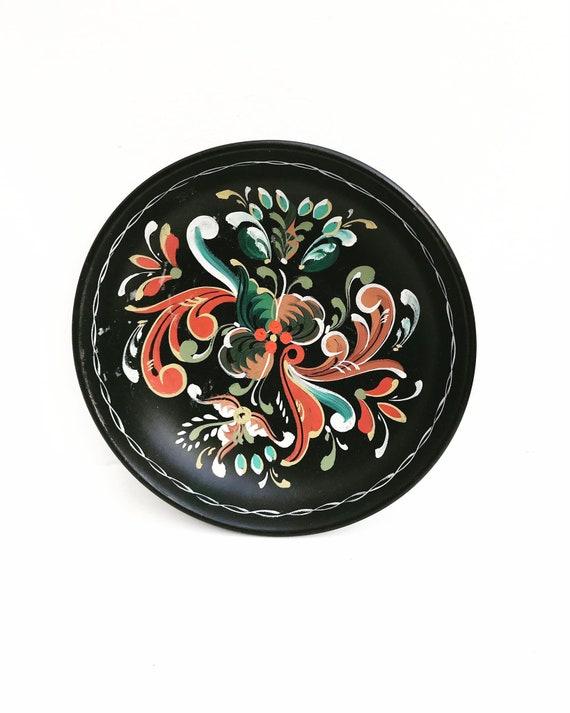Rosemaling Norwegian Vintage 60s  Wall art fruit bowl or tray wall decorative wall hanging plate folk art Norway Scandinavian Wood Carving
