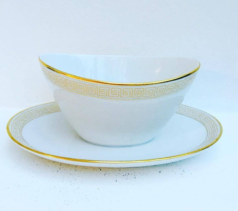 White and Gold  Gravy Boat Old Sauce Boat . Rarisime Seltmann image 0