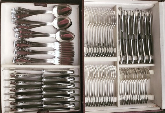 Flatware Antique Cutlery set for 12 Silver plated Cutlery set Vintage wedding gift luxury  forks dinner German flatware gift for couple