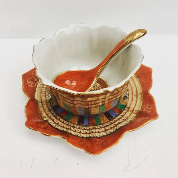 Vintage Asian Chinese Soup bowl,  Rice Bowl with Spoon Porcelain with Floral Design, soup bowl and saucer orange gold asian.