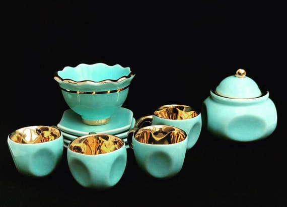 Aqua Coffee set Belgian pottery Expresso 4 cups saucers  Coffee pot teapot sugar bowl turquoise and gold 1920s Bayer blue green Tiffany
