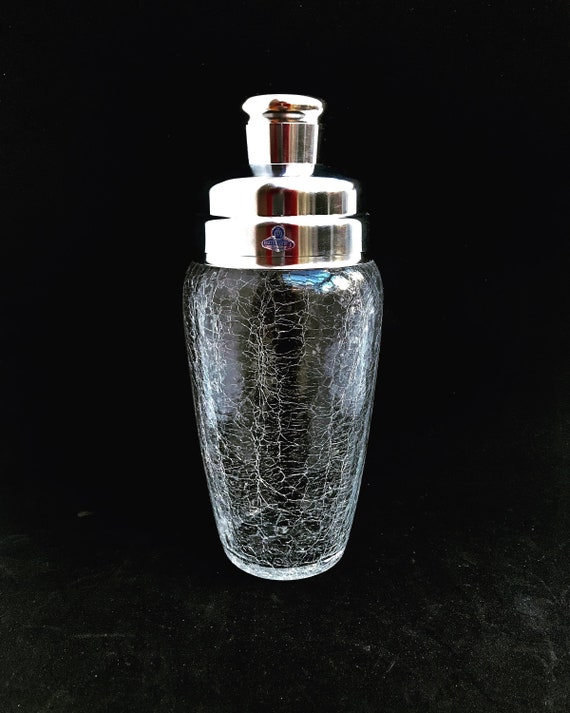 Vintage Cocktail Shaker Stainless Steel and crystal large Bar Accessories Mid Century Martini  cocktail mixing glass bar cart decor