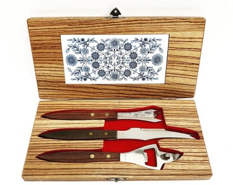 Bar Set rosewood stainless steel wood board box cheese server cheese cutter Vintage bottle opener, cave man, gift for him, bartender gift