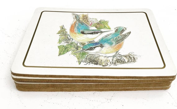 Pimpernel cork placemats set of 6 Bird illustrations small size Cork Back Placemat Table Top Home Decor Bird Kitchen bird lover gift mom
