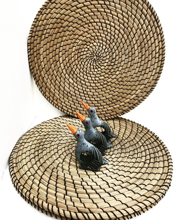 Rattan placemats round set 3 with 3 wooden vintage napkin ring holders birds boho chic table wicker decor bohemian home christmas gift