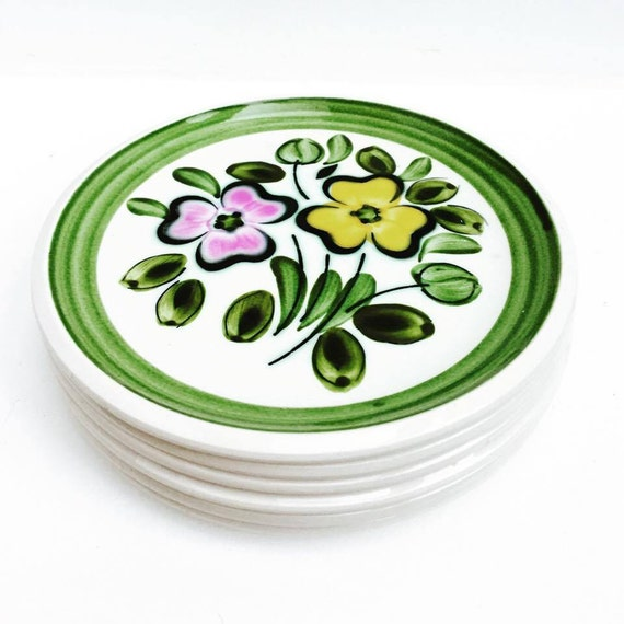 Boch Belgium, 6 plates dessert ou entré, serie In the Mood (1968) handpainted. For dish  collectors Collection plates china  replacement