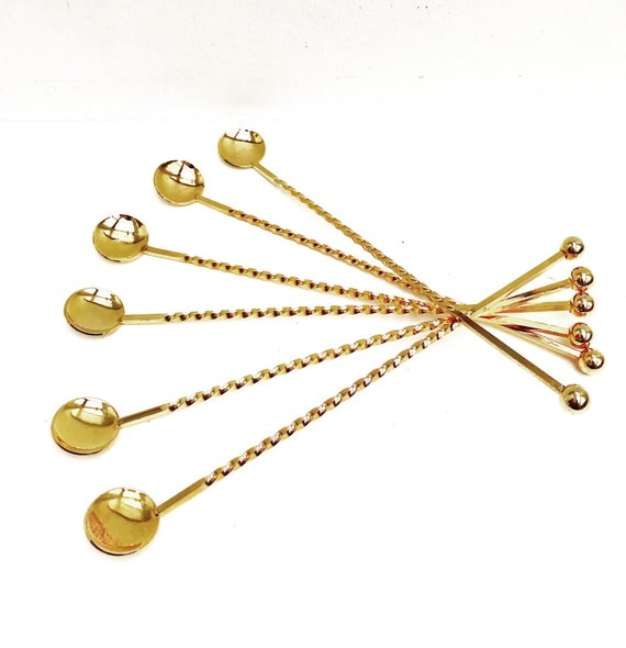 Cocktail Stirrers spoons Champagne Stirrers Sticks Set of 6 Gold Plated Bar Tools Bar Cart Accessories bartender mixing tools gift