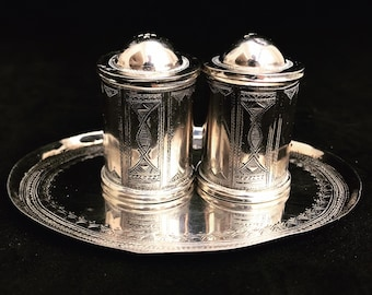 Touareg Silver Tribal Salt and pepper shaker Berber Nomadic  art Authentic Handmade decor African art collector wedding gift Unique
