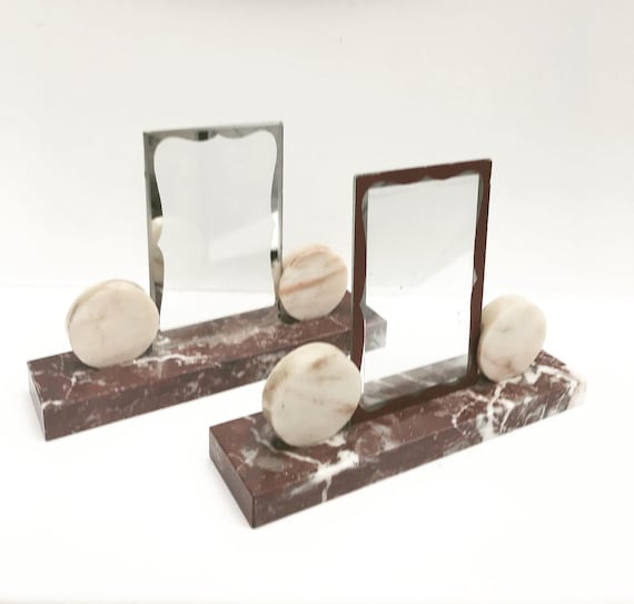 Pair photo holder Art Deco Marble picture frame French Art Deco - office adorenment Photo Stand Picture Holder Desk Decor Display Stand Card