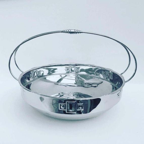 Scandinavian Fruit Basket, Metal Large Bowl Art Deco with  Handles, Silver Plated, 1940. Fruit Basket, Centerpiece, Danish Bowl, 1940s
