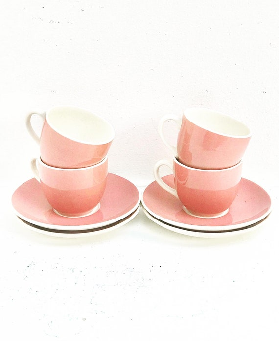 Dark Pink Coffee cup set Villeroy and Boch Saar Vintage 1920s Set, Coffee pink cups, Pink Vintage, made in Germany, German pottery Porcelain