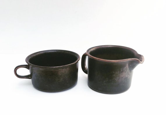 Ruska brown Finish ceramic creamer and cup Brown Scandinavian Ceramic set  creamer Ruska by Arabia from Finland Designed by Ulla Procope