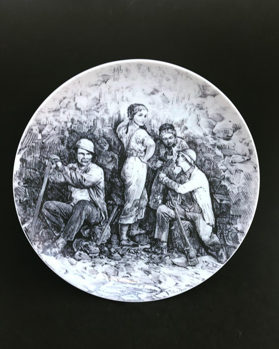Fürstenberg collection wall plate black and white transfer kitchen decor gift collector Country Kitchen decor German Porcelain