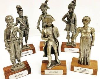 Napoleon Bonaparte Figurine, Napoleon Generals Collection, Mid Century Figurines, French Vintage Pewter Figurines  Josephine figurine
