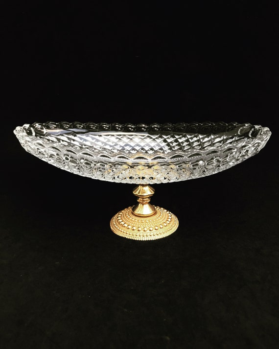 Compote bowl Hollywood Regency crystal brass  Fruit Candy Bowl with golden bronze  pedestal Crystal pedestal dish  wedding christmas gift