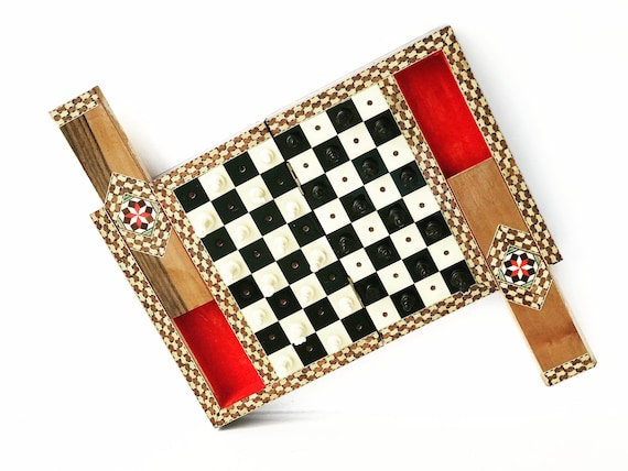 Vintage Marquetry Box Small Travel Chess Board Inlay Wooden Hinged Box Inlay  Gft for him  Pocket Travel Chess Set Wooded Travel Game