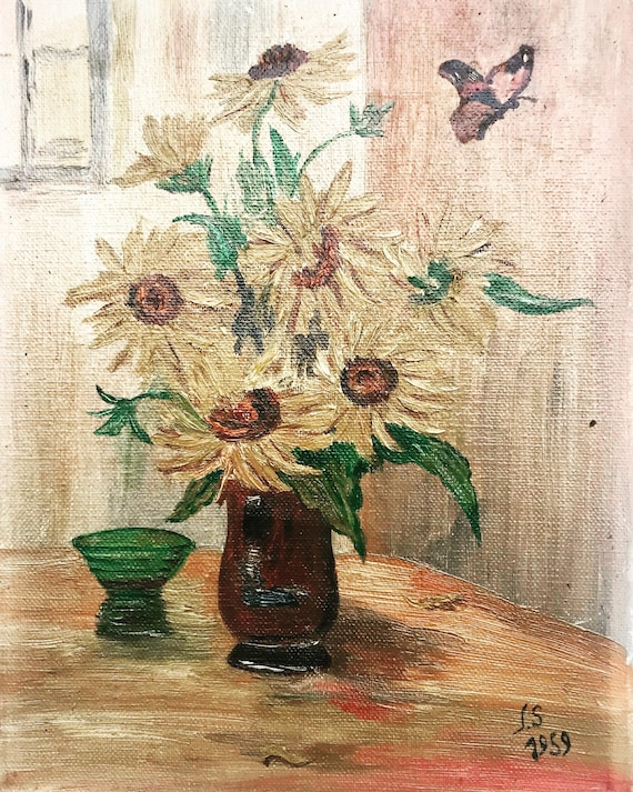 Sunflowers Still life Painting original acrylic on canvas French Vintage wall art bouquet flowers acqua blue vase shabby chic decor gift