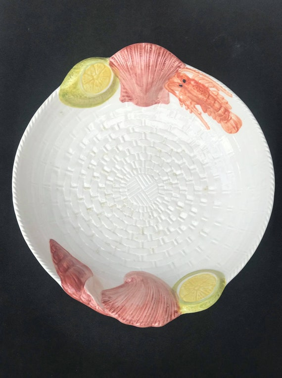 Seafood Serving Plate Round lobster shellfish italian  hand made pottery  Italy