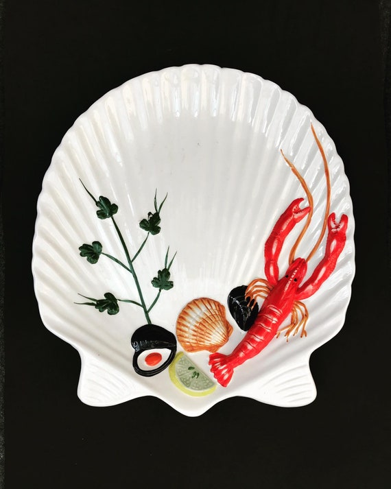 Seafood dinner plates dinnerware lobster shellfish italian 4 pieces stunning  hand made pottery  Italy