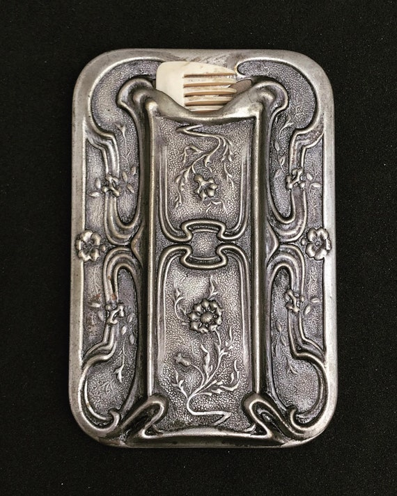 Vintage Mustache mirror and comb  Art Nouveau Pocket beard comb  mirror purse mirror Made in France 1910s hipster mustache gift for him